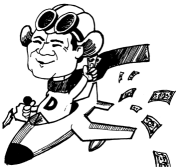 Randy Duke Cunningham in plane tossing out money (credit: Rita Tamerius for Congress, 1996).